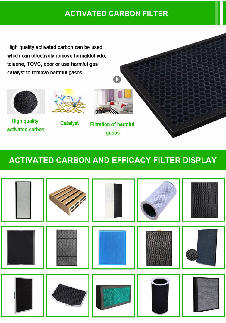 High-quality activated carbon can be used,  which can effectively remove formaldehyde,  toluene, TOVC, odor or use harmful gas  catalyst to remove harmful gases